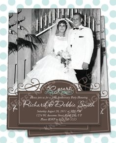 25th 50th Wedding Anniversary Invitation Will work for any anniversary Customized for you. $14.00, via Etsy.