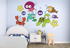 Sea Creatures Bubbles Wall Decal