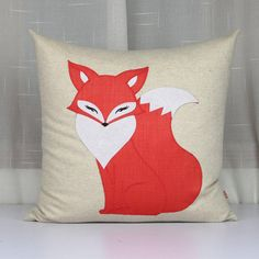 The enchanting fox pillows,Home decor throw pillows,Cute Miss fox cushion covers,Handmade applique decorative embroidered from PerfectHM on Etsy.