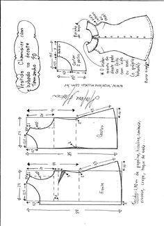Esquema de modelagem de vestido chamesier com babado tamanho 40.