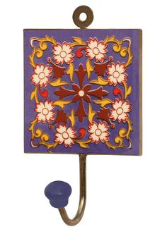Bluey Splash   #Handmade 6.2u201d #Ceramic #Wall Hook With #Floral Pattern In  Royal Blue Base | Bulk Wholesale Wall Decor Hook Supplies | Pinterest |  Iron, Wall ...