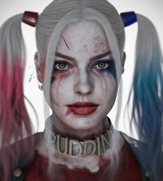 """On the creation of this portrait was inspired by a song """"Sia - The Whisperer"""" and heroine of the film """"Suicide Squad"""" - Harley Quinn. Margot Robbie - is an interesting actress and a beautiful woman, her character is memorable, Harley Quinn Tattoo, Joker Y Harley Quinn, Harley Quinn Drawing, Harley Quinn Halloween, Margot Robbie Harley Quinn, Maquillage Harley Quinn, Arley Queen, Clown Tattoo, Harely Quinn"""