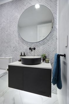 The Block Hallway, laundry and powder room reveals The Block Kerrie and Spence's powder room features a marble herringbone tile feature wall. Timeless Bathroom, Modern Bathroom, Small Bathroom, Bathroom Marble, Marble Wall, Tile On Bathroom Wall, The Block Bathroom, Ikea Bathroom, Minimalist Bathroom