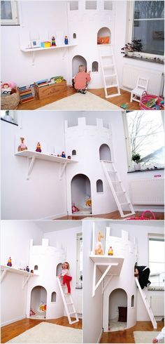 A Two Story Castle Playhouse for Your Prince or Princess Outdoor Wooden Playsets, Wooden Playhouse Kits, Castle Playhouse, Kids Playhouse Plans, Kids Indoor Playhouse, Build A Playhouse, Closet Playhouse, Princess Playhouse, Plastic Playhouse