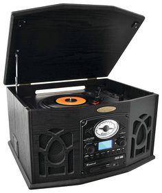 Pyle - Bluetooth Turntable and Speaker System - Black