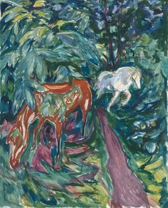 Edvard Munch (Norwegian, 1863-1944), Two Horses in the Forest, 1926. Oil on canvas, 90 x 72 cm