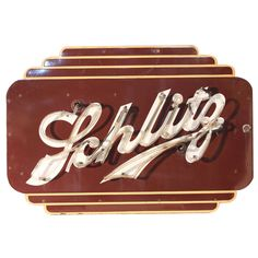 """Art Deco Double Sided Neon """" Schlitz """" Beer Sign 
