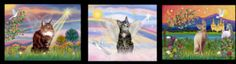 """Three of my designs: Left to right:  """"Cloud Angel"""" with a Maine Coon cat, """"Heavens Clouds"""" with a tabby tiger cat  and """"Fantasy Land"""" with a Sphynx cat."""