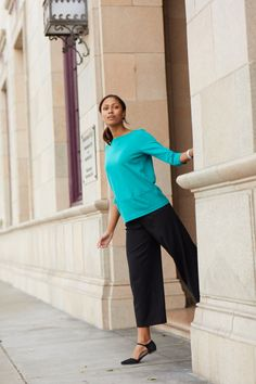 Crisp, clean and versatile styles. New fall looks that work for your 9 to 5 and beyond. Style classic black pants for work with ease by pairing with a pop of color and comfortable flats.