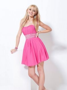 A-line Strapless Chiffon Short/Mini Beading Homecoming Dresses