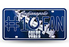 NFL Indianapolis Colts Bling 1 Fan Metal Auto Tag Plate 12 x 6Inch Silver * Learn more by visiting the image link.
