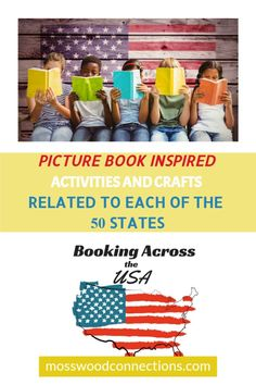 PICTURE-BOOK-INSPIRED-ACTIVITIES-AND-CRAFTS-RELATED-TO-EACH-OF-THE-50-STATES 1 Learning Games For Kids, Reading Activities, Educational Activities, Activities For Kids, Homeschool Curriculum, Homeschooling, Book Reviews For Kids, How To Teach Kids, 50 States