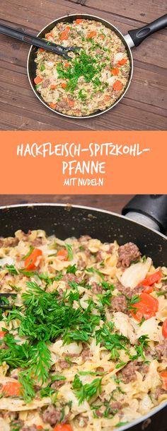 Rezept für eine einfache und leckere Spitzkohl-Hack-Pfanne mit Nudeln.