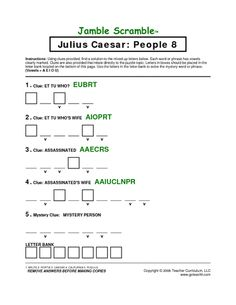 Julius Caesar Act III Lecture Note Fill-in Worksheet, FREE ...