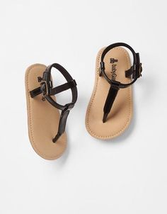 GAP Baby Girl Size 3-6 Months NWT Black Patent Thong T-Strap Sandals Shoes #BabyGap #Sandals