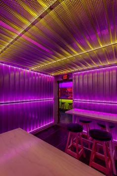 Bar Interior, Restaurant Interior Design, Bar Lighting, Lighting Design, Gaming Lounge, Nightclub Design, Restaurants, Retro Waves, Design Studio