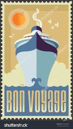 Vintage retro cruise ship - vector design - Holiday travel poster illustration by rtguest, via Shutterstock Ship Vector, Vector Art, Packing List For Cruise, Cruise Travel, Travel Bag, Cruise Party, Retro Tattoos, Video Games For Kids, Ship Art