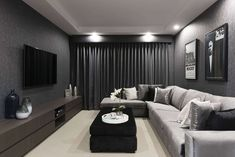 Enjoy movie nights with the whole family in this Home Theatre room. Step into th… Enjoy movie nights with the whole family in this Home Theatre room. Step into the Impression – link in bio. Cinema Room Small, Small Movie Room, Home Cinema Room, Tiny Movie, Home Design, Home Theater Room Design, Home Theater Rooms, Interior Design, Design Design