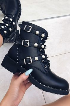 Step up your style stakes and work a pair of women's ankle boots including fringed and black studded styles. Fancy Shoes, Cute Shoes, Me Too Shoes, Sock Shoes, Shoe Boots, Biker Boots Outfit, Gothic Shoes, Studded Ankle Boots, Mode Style