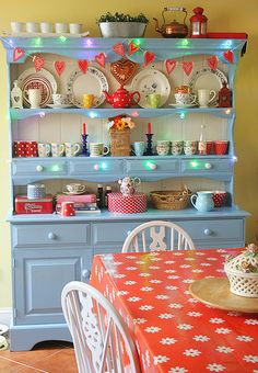See, an old dark pine china cabinet / hutch DOES look good when it's repainted in blue & white!