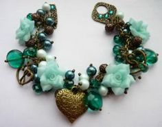 Vintage Style Cha Cha Charm Bracelet Teal & Mint Roses | Luulla.....this is gorgeous!
