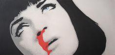 :::237::: Portrait of Uma Thurman in Pulp fiction. Stencil on canvas.