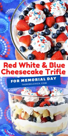 This Red White and Blue Cheesecake Trifle Recipe is perfect for Memorial Day, 4th of July and Labor Day picnics!