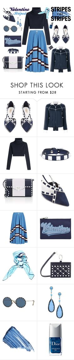 """Valentino Stripes"" by ellenfischerbeauty ❤ liked on Polyvore featuring Valentino, Sisley and Christian Dior"