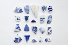 20 Japanese Blue and White Sea Pottery Pieces, Jewelry Grade Beach Pottery,Coastal Home Decor,Jewelry Pottery Ceramic,Japanese Vintage Gifts by ReverseGem on Etsy