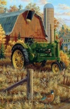 Pic of barn, John Deere, silo.