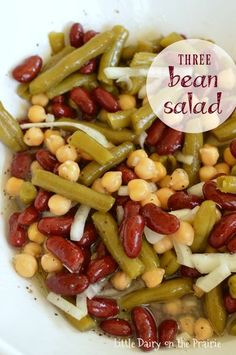 Easy Three Bean Salad – Quick, easy and delicious make ahead dish. Really enjoyed. Make Ahead Salads, Easy Salads, Summer Salads, Easy Meals, Gourmet Recipes, Cooking Recipes, Healthy Recipes, Five Bean Salad, Vegan 3 Bean Salad