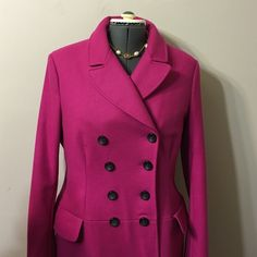 """1H saleNicole  Miller NWT.wool pea-coat size 16 Brand new,color very similar on the pictures .Mid-weight wool blend woven,double breasted button closure,flap pockets at waist ,contemporary Fit .Length 32"""".  Sleeves length 26"""" Nicole Miller Jackets & Coats Trench Coats"""