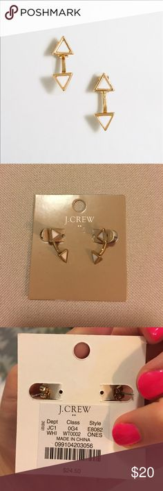 J. Crew white triangle earring jacket J. Crew white triangle earring jacket. NWT J. Crew Jewelry Earrings