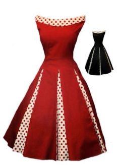 50's Vintage Red & Poke A Dot Dress - Love It