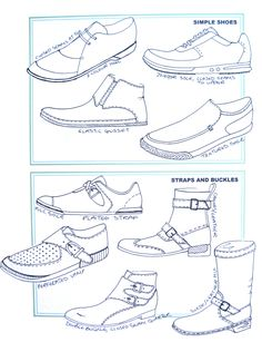 Chart of simple shoes, and shoes with straps and buckles.