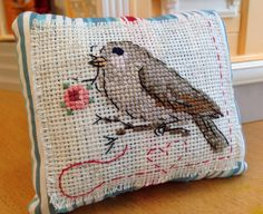 Pincushion Embroidered Cross stitch pin cushion pin keep Bird Riley Blake Flutter by NordicCrafter on Etsy https://www.etsy.com/listing/187455554/pincushion-embroidered-cross-stitch-pin