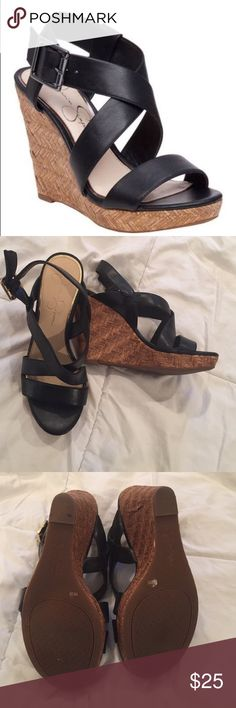Wedge Sandal by Jessica Simpson Black Jessica Simpson Joilet Wedge Sandal /Never worn / Size 9 / basket weave platform and heel Jessica Simpson Shoes Wedges