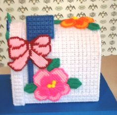 15% OFF SALE ON ALL ITEMS! coupon code SILLY15 at checkout.   Needlepoint Tissue Box Cover Pansy Mailbox by Sillysockmonkeys, $17.00