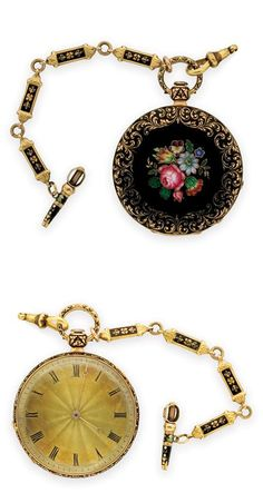Antique Gold and Enamel Open Face Pendant-Watch with Fob and Key   18 kt., key wind, key set, gilt movement, diameter 38.4 mm., signed J.F. Bautte & Co., Geneve, ap. 25.4 dwt. Victoria or Victoria style.