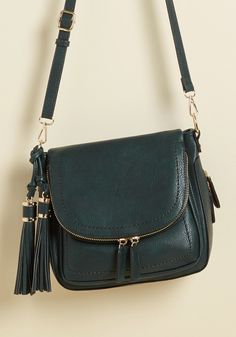 On Your Carry Way Bag in Deep Teal | ModCloth Ensure you always go forth with fashionable panache, courtesy of this faux-leather satchel! Rich teal in hue, characterized by a convenient flap compartment, and made expandable with a zippered bottom, this tassel-touched bag propels your functional style to bold new heights.