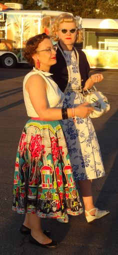 LOVE this vintage dress with the multicolored skirt!