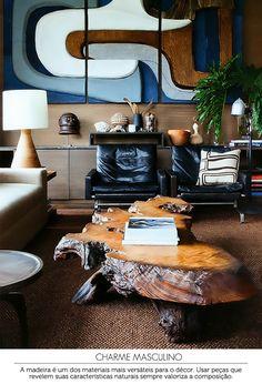 dark living room | sala de estar masculina #decor #wood #sala
