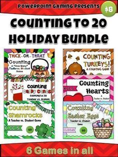 Here are 6 games for all your major celebrations for the school year! This bundle contains 6 Powerpoint Bingo games for the 6 major holidays: Halloween, Thanksgiving, Christmas, Valentine's Day, St. Patrick's Day, and Easter. Great for a guided math cente