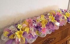 Items similar to Purple Daisy Deco Mesh Wreath/Spring Wreath/Purple, Lime and Pink Spring Wreath on Etsy Deco Mesh Garland, Diy Garland, Deco Mesh Wreaths, Diy Wreath, Easter Flower Arrangements, Candle Arrangements, Easter Flowers, Purple Daisy, Pink Yellow