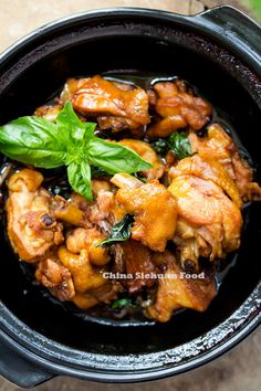Taiwanese three-cup chicken with sweet basil, rice wine, sesame oil, soy sauce, garlic and ginger. Asian Recipes, Healthy Recipes, Ethnic Recipes, Yummy Recipes, Oriental Recipes, Chinese Recipes, Turkey Recipes, Chicken Recipes, Three Cup Chicken