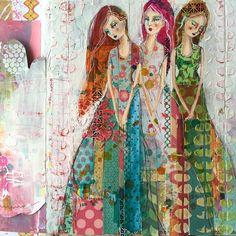 Did I show you my completed '3 Sisters'? #artjournal #janedavenportworkshops