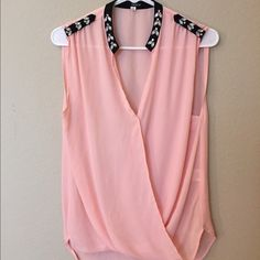 Soft pink jeweled sleeveless button up Soft pink! Jeweled! Super girly and flirty! NEVER WORN! Light weight. Tops Button Down Shirts