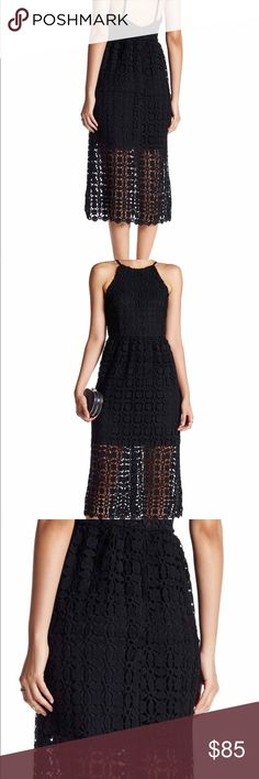 Romeo & Juliet Crochet Midi Dress NWT. Who doesn't need a little black dress. This one is perfect for all occasions. Crochet design is very high quality. Low back with the high neck is right on trend. Mini under layer lets some leg show through the crochet design.  Size S (in woman's) Romeo & Juliet Couture Dresses Midi