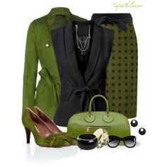 """Black and Green"" by tufootballmom on Polyvore"