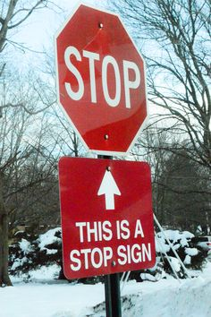 This stop sign has a sign under it to remind you that the above stop sign is a stop sign